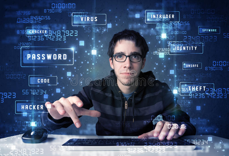 Hacker programing in technology enviroment with cyber icons. And symbols stock photo