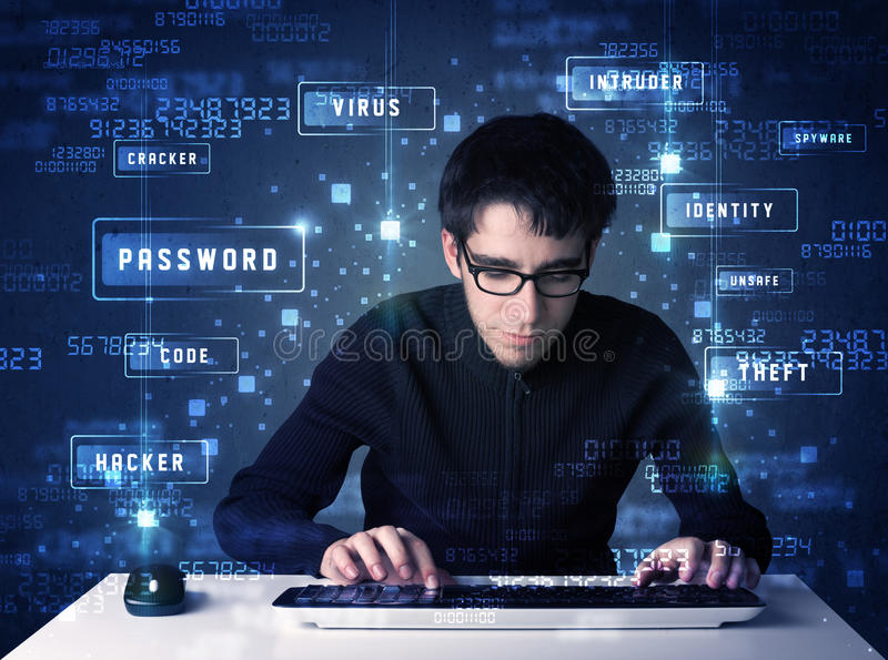 Hacker programing in technology enviroment with cyber icons. And symbols stock image