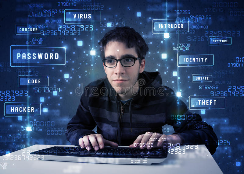 Hacker programing in technology enviroment with cyber icons. And symbols stock photos