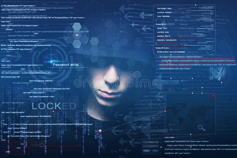 Hacker przy pracą fotografia stock