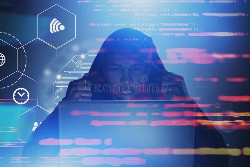 Hacker que comete o conceito digital do crime foto de stock