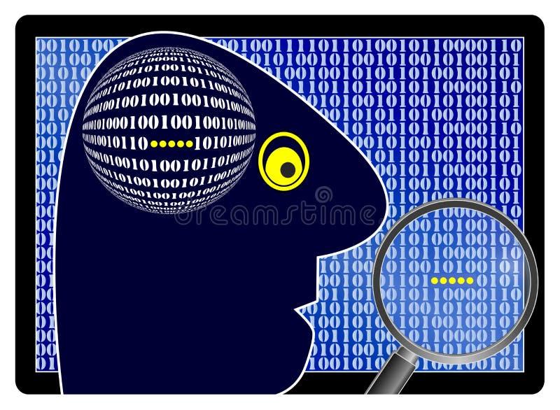 Hacker que procura pela informação confidencial ilustração stock