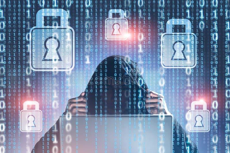 Hacker que quebra o dobro da segurança da rede imagem de stock