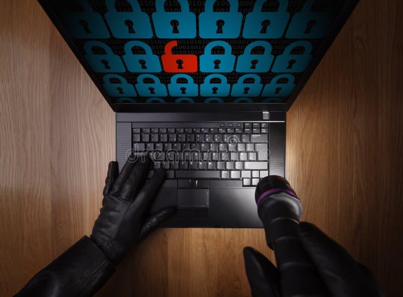 Hacker que rouba dados de um portátil
