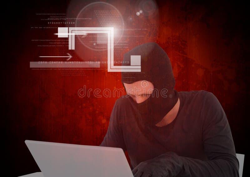 Hacker que trabalha no portátil na frente do fundo vermelho digital ilustração do vetor