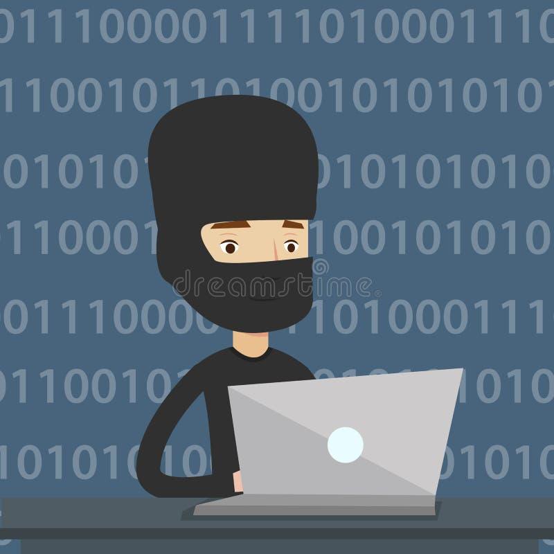 Hacker que usa o portátil para roubar a informação ilustração do vetor