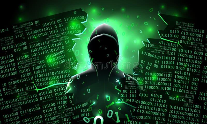 Hacker que usa o servidor de computador abstrato cortado Internet, base de dados, armazenamento da rede, guarda-fogo, conta socia ilustração do vetor