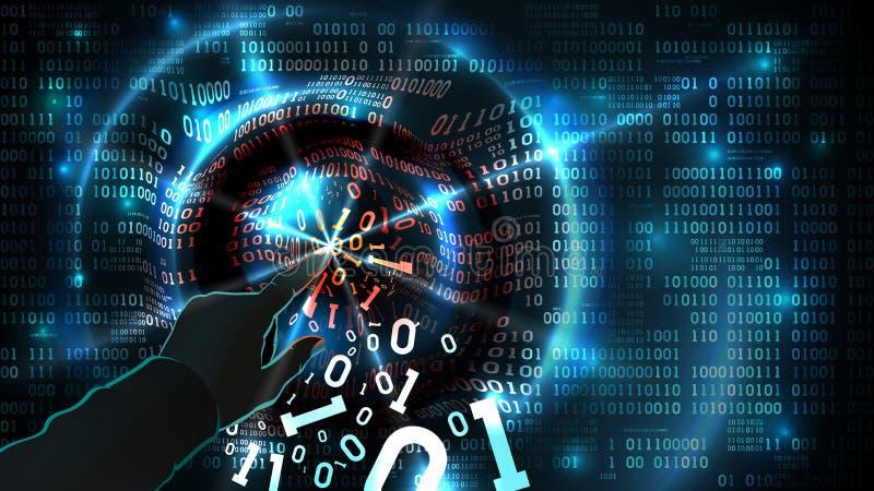 Hacker ręka dotyka binarnego kod i sieka abstrakcjonistycznego baza danych, zapora, ogólnospołeczny sieci konto, komputerowy inte royalty ilustracja