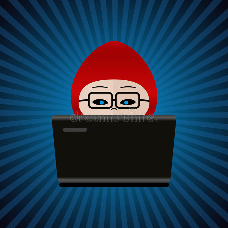 Hacker with red cap computer man behind laptop working icon eps10 royalty free illustration