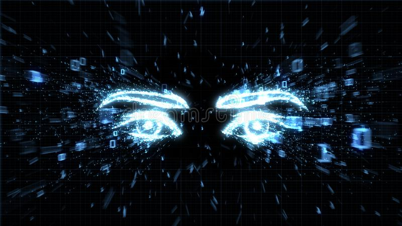 A hacker`s eyes, spyware and privacy issues. Glowing eyes in explosion of binary data illustrating spyware, privacy and hacking vector illustration