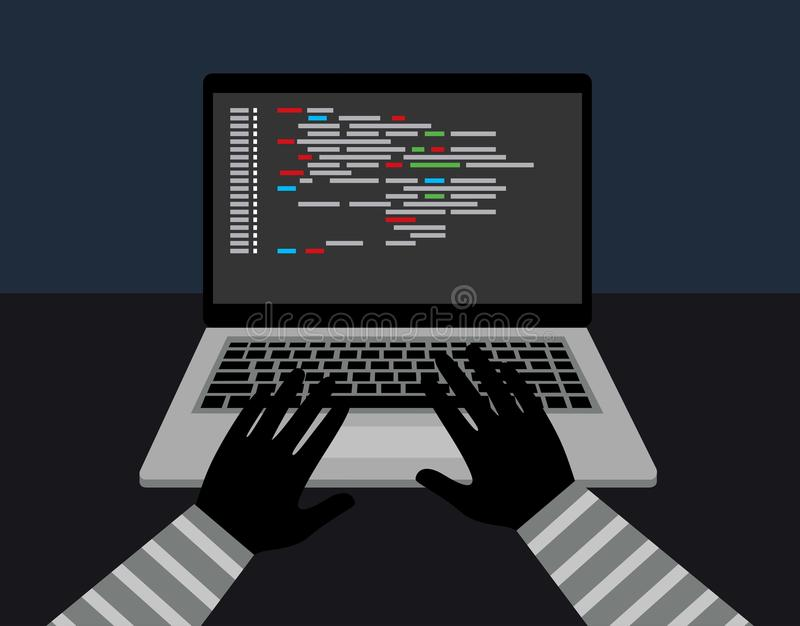 Hacker security steal your data and system with code internet. theft of data from the computer stock illustration