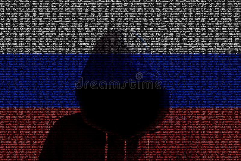 Hacker shininhg durch russische Computercodeflagge lizenzfreie abbildung