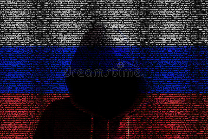 Hacker shininhg through russian computer code flag royalty free illustration