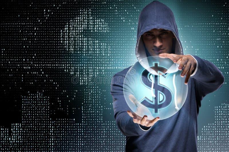 Hacker sieka deponujący pieniądze pieniężnego system obraz stock