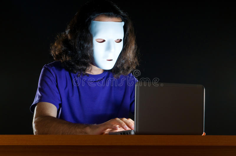 Download Hacker sitting in  room stock image. Image of identity - 20949353