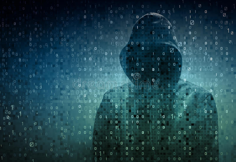 Hacker sobre uma tela com código binário