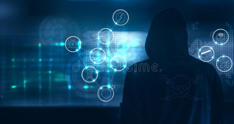 Hacker standing and prepare to attack with cyber crime icons on stock illustration