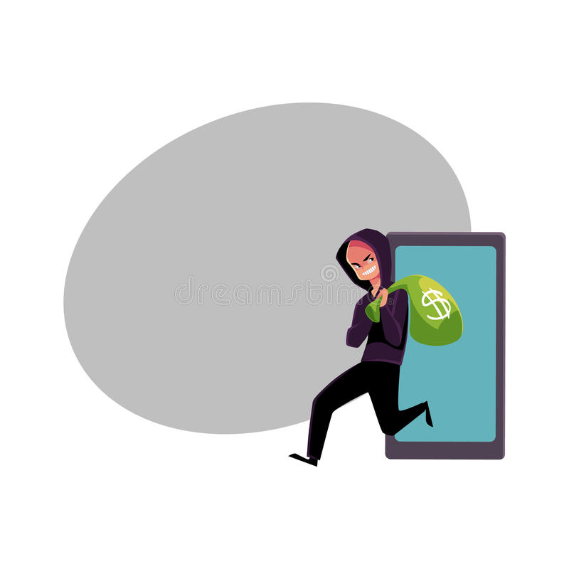 Hacker stealing money, cybercrime, Internet fraud, online scam. Cartoon vector illustration with space for text. Cybercrime, Internet fraud illustrated as royalty free illustration