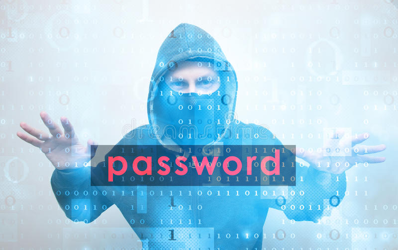 Hacker stealing password. Hacker man stealing password cyber security concept royalty free stock photo