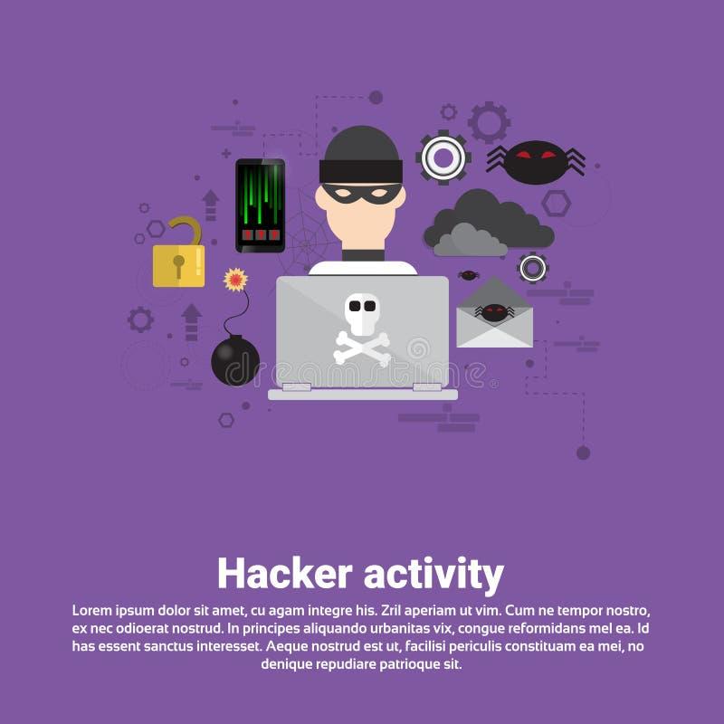 Hacker-Tätigkeits-Daten-Schutz-Privatleben-Internet-Informationssicherheits-Netz-Fahne vektor abbildung