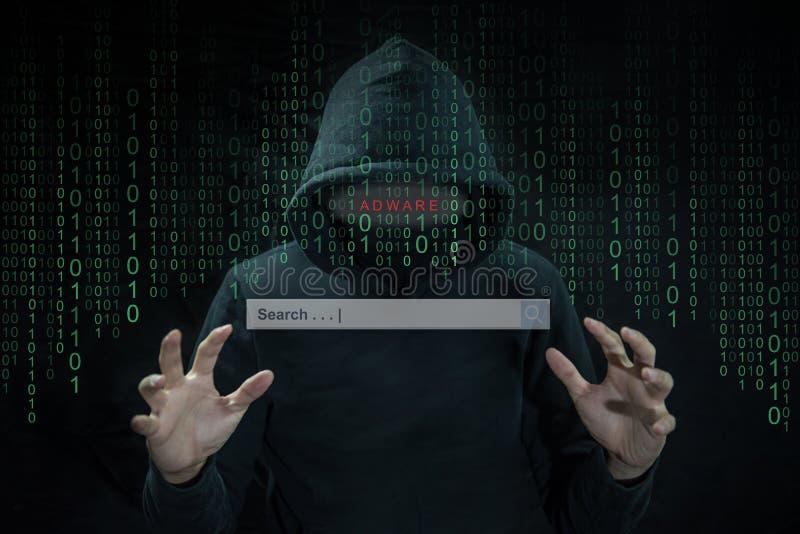 Hacker używa adware kontrolować wyszukiwarkę obrazy stock