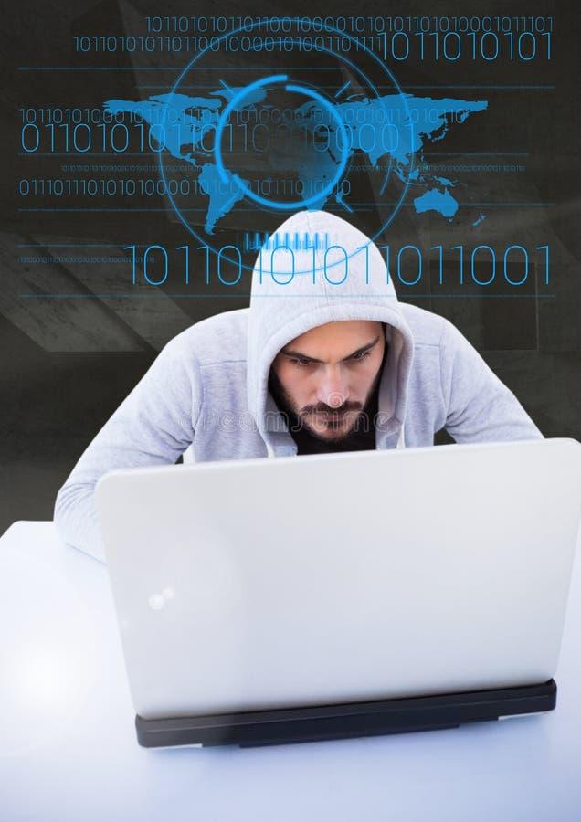 Hacker używa laptop przed cyfrowymi rysunkami zdjęcia stock