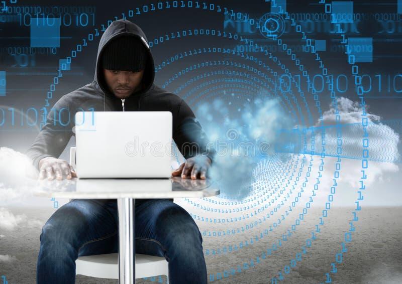 Hacker używa laptop przed cyfrowymi znakami ilustracji