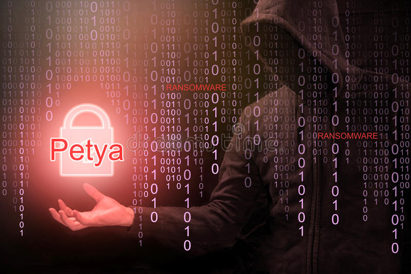 Hacker używa Petya ransomware dla cyber ataka fotografia stock
