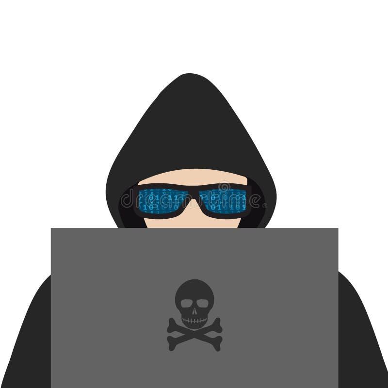 hacker Un hombre en una sudadera con capucha con una capilla y los vidrios mira el monitor de computadora stock de ilustración