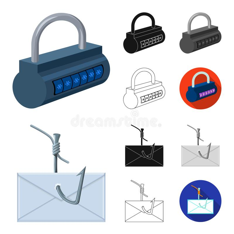 Hacker und zerhacken Karikatur, Schwarzes, flach, einfarbig, Entwurfsikonen in der Satzsammlung für Design Hacker- und Ausrüstung stock abbildung