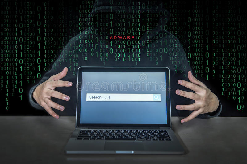 Hacker using adware fireball to control laptop computer. Using web browser search engine to spy and steal information. Internet security cyber attack hijack royalty free stock image