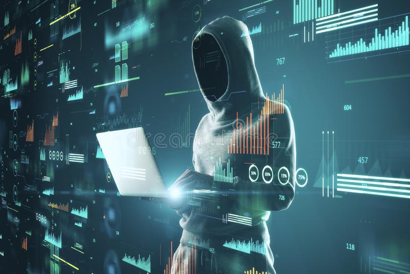 Hacker using blurry big data interface. Hacker using laptop with blurry glowing big data interface. Malware and futuristic concept. Multiexposure stock photography