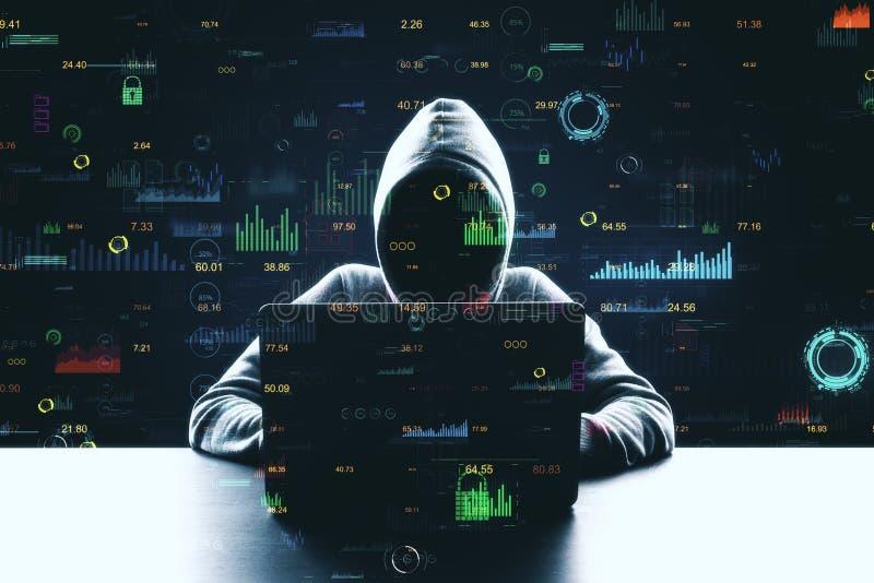 Hacker using creative big data interface. Hacker at desktop using laptop with creative glowing big data interface. Malware and futuristic concept. Multiexposure royalty free stock photo
