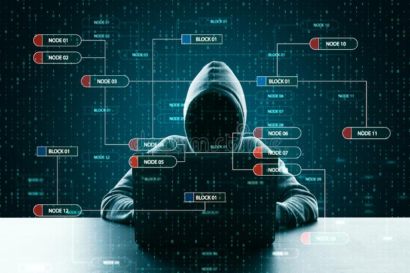Hacker using creative big data interface. Hacker at desktop using laptop with creative glowing big data interface. Virus and futuristic concept. Double exposure royalty free stock image
