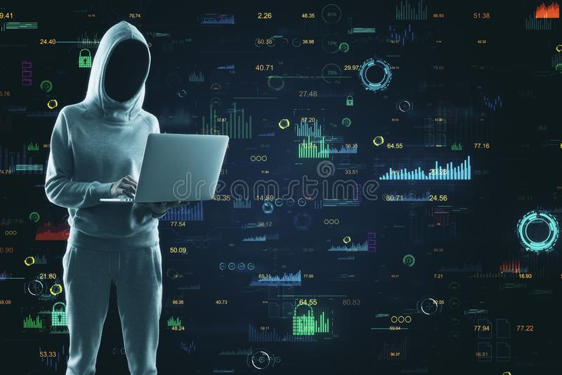 Hacker using creative big data interface. Hacker using laptop with creative glowing big data interface. Malware and futuristic concept. Multiexposure stock photo