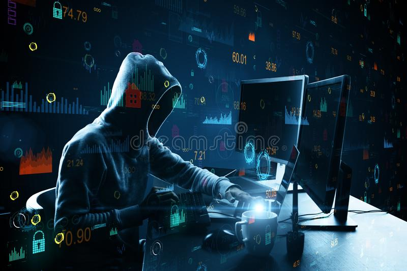 Hacker using creative big data interface. Side view of hacker at desktop with coffee cup using laptop with creative glowing big data interface. Malware and stock photo