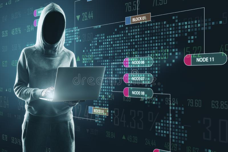 Hacker using glowing big data interface. Hacker using laptop with glowing big data interface. Malware and futuristic concept. Double exposure royalty free stock images