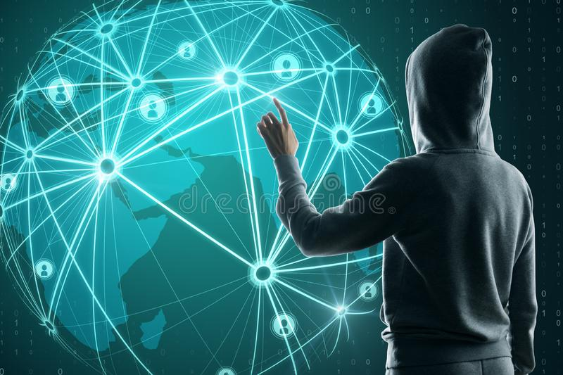 Communication and network concept. Hacker using glowing map interface with connections on blue background. Communication and network concept stock photos