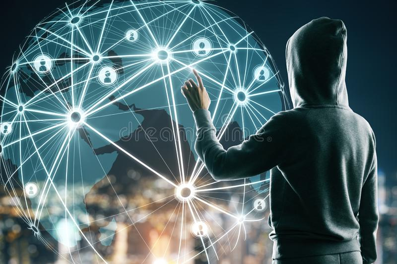 Communication and network concept. Hacker using glowing map interface with connections on blurry night city background. Communication and network concept royalty free stock photos