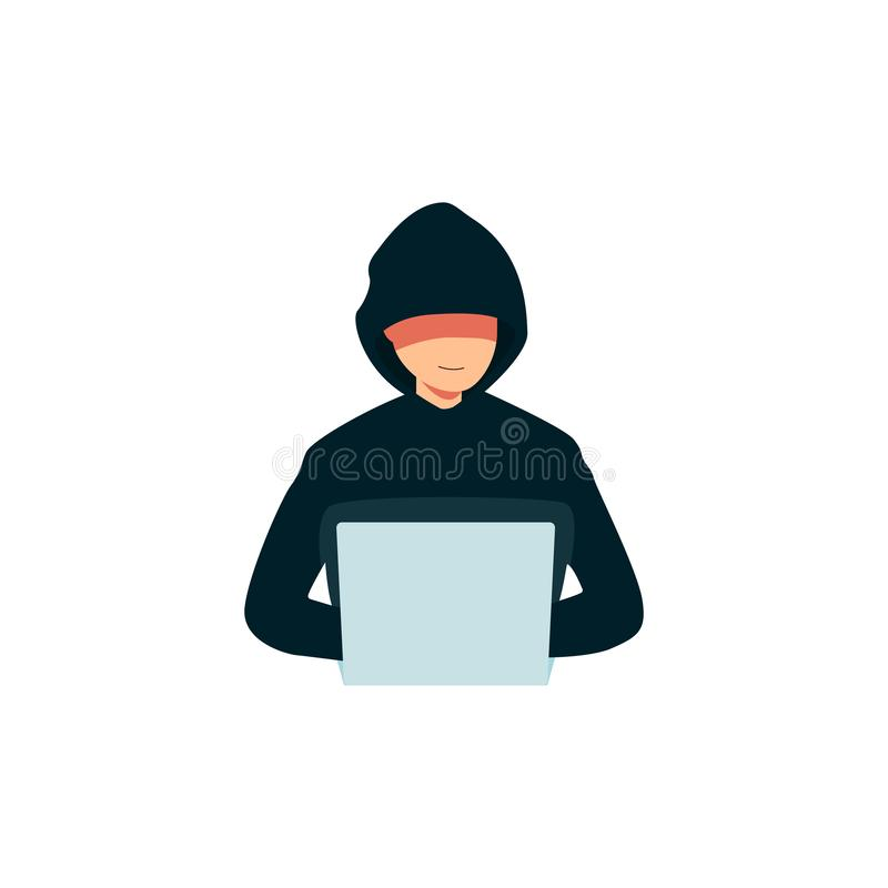 Hacker using a laptop icon, criminal man in a hoodie breaking into computer`s security royalty free illustration