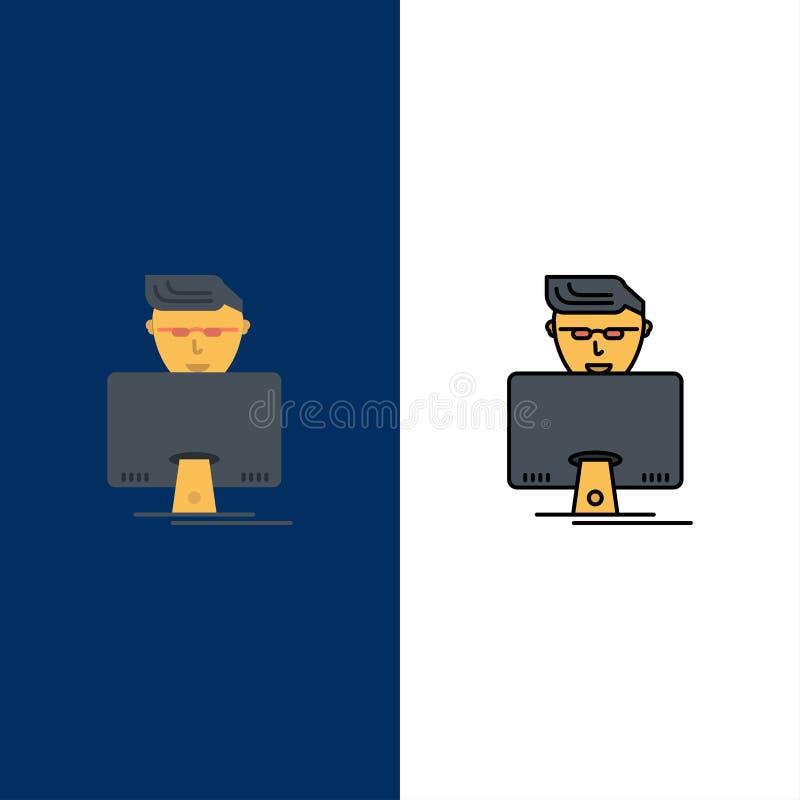 Hacker, usuário, Gamer, programador Icons O plano e a linha ícone enchido ajustaram o fundo azul do vetor ilustração do vetor