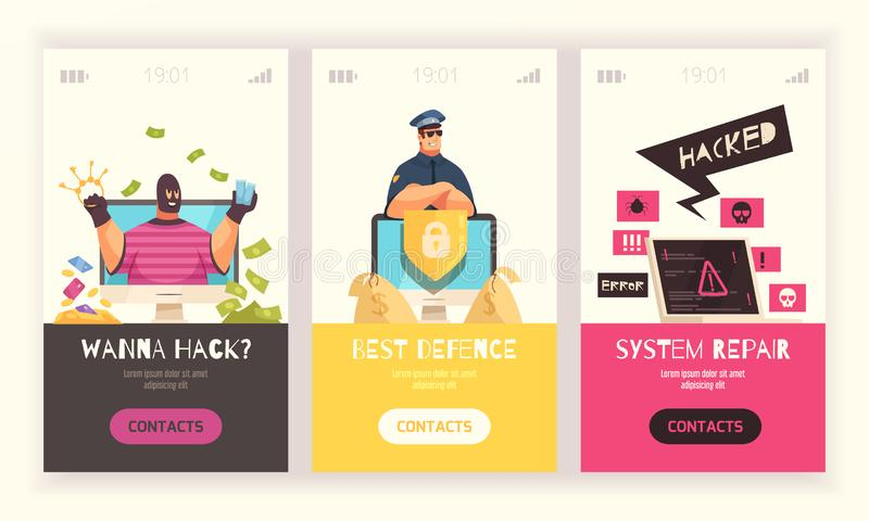 Hacker Vertical Banner Set. Three hacker vertical banner set with wanna hack best defense and system repair headlines vector illustration vector illustration