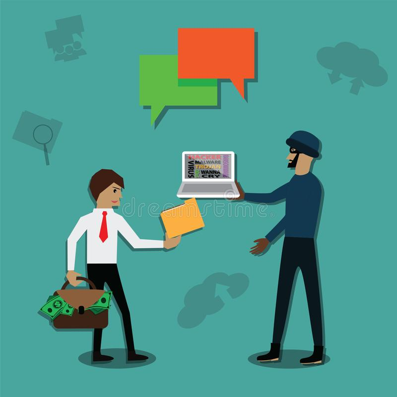 The hacker was employment from meanness man to  trick betray a competitor - vector. Illustration stock illustration