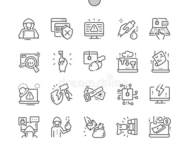 Hacker Well-crafted Pixel Perfect Vector Thin Line Icons 30 2x Grid for Web Graphics and Apps. vector illustration