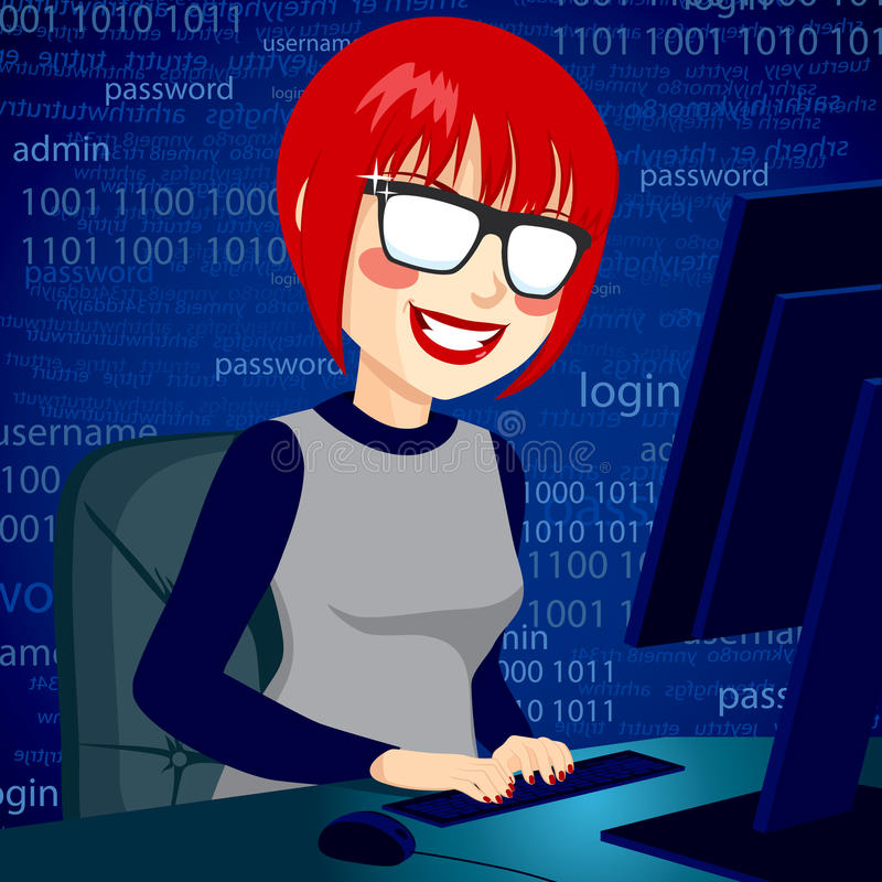 Hacker Woman With Computer. Hacker woman typing on computer enjoying breaking system security code with mischievous smile vector illustration