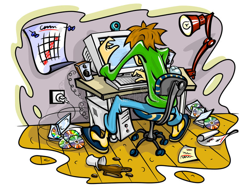 Download Hacker Working On Computer In Jumble Room Stock Photo - Image: 14661580
