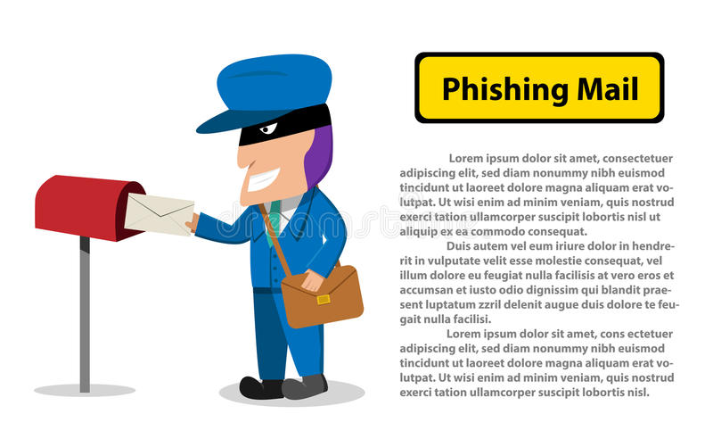 Hacker wysyła phishing poczta ofiara, wektor ilustracji