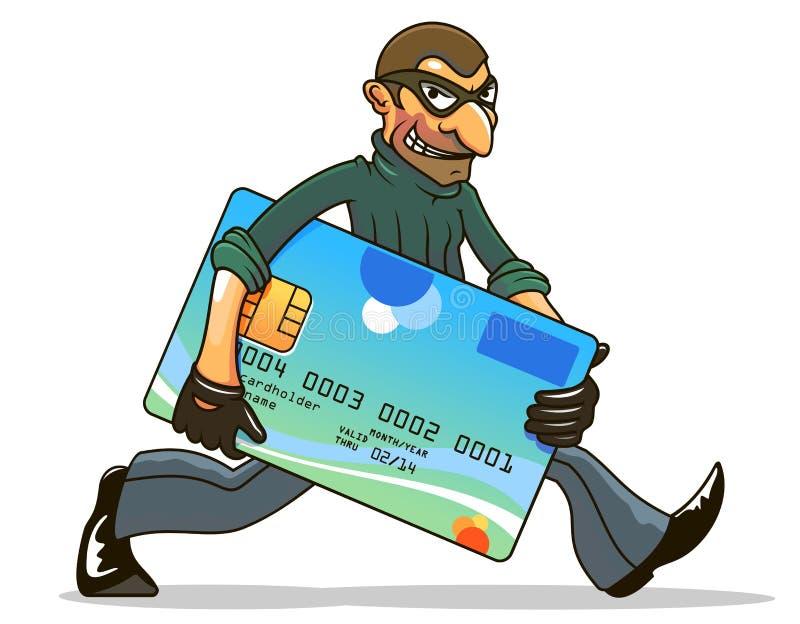 Hacker lub złodziej kraść kredyt royalty ilustracja