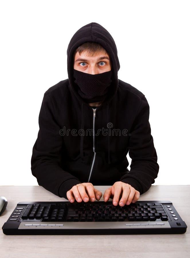 Hacker z klawiaturą zdjęcie stock