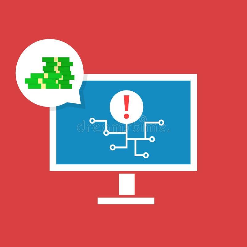 Hackera cyber atak na osobistych komputerach ilustracji